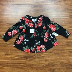 NWT Old Navy Baby Girl Floral Button Tunic 18-24M